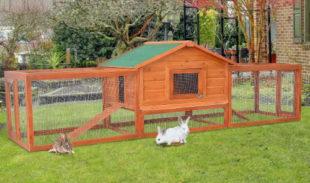 Dřevěná králíkárna s velkým výběhem s dvěmi rampami